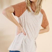 Clay Unfinished Hem Short Sleeve Top