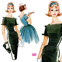 1960s Dress Pattern Bust 32 McCalls 5776 Evening Cocktail Party Ful Skirt or Slim Sheath Peek A Boo Sleeves Womens Vintage Sewing Patterns