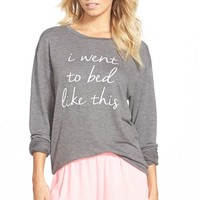 Junior Women's Ten Sixty Sherman 'I Went to Bed Like This' Long Sleeve Tee,