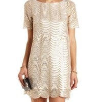 Scalloped Sequin Shift Dress by Charlotte Russe - Gold