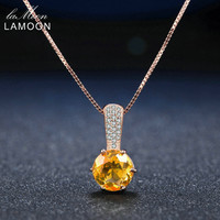 LAMOON 8mm 2ct Natural Round Citrine 925 sterling-silver-jewelry Amber Pendant Necklace Women Fine Jewelry 18K Rose Gold Plated
