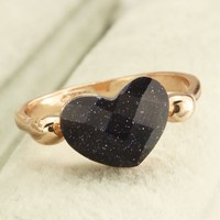 FM42 18k Yellow Gold Plated Heart Shaped Blue Goldstone Ring R203