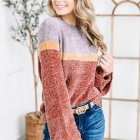 Funky Dark Lavender Colorblock Sweater