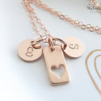 Heart Necklace Mother Daughter Jewelry Mother Daughter Necklace Set Rose Gold Heart Pendants Mom Daughter Gift Set, Mom Christmas Gift