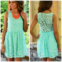 SZ LARGE I Love Lacy Mint Lace Sleeveless Dress