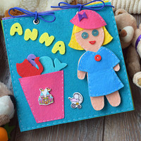 Quiet book Personalized Busy book Felt Activity toy Doll motor skills educational travel toys sensory play for girls gift Montessori toy