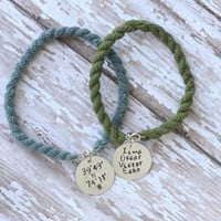 Metal Stamped Boot Band Bracelet - Military / Long Distance Relationship / Deployment