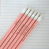 mean girls assorted engraved pencil set