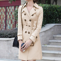 Notched Sleeve Buttoned Long Trench Coat