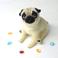 Needle felted pug. OOAK art doll. Collectible toy. Realistic animal. Posable toy. Dog from wool.