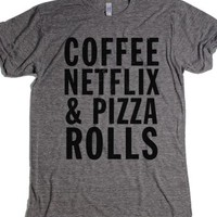 Coffee Netflix and Pizza Rolls-Unisex Athletic Grey T-Shirt