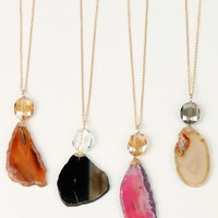 Agate Slice Necklace, 4 colors