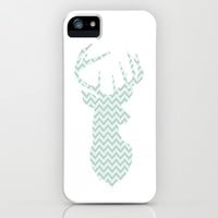Deer Chevron Silhouette (Mint & Gray) iPhone & iPod Case by daniellebourland