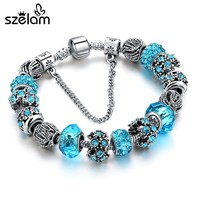 Dropshiping Charm Jewelry Silver Bracelets For Women Blue Crystal Beads Bracelet Female Pulseras Mujer SBR160158