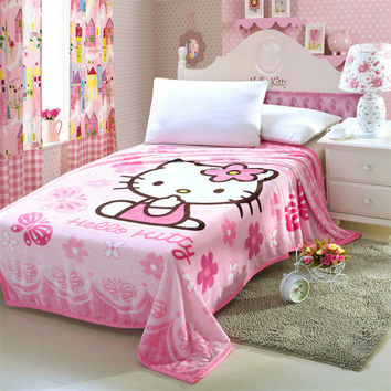 Hello Kitty Blanket for Adult Kids Plush Fleece Blanket Kawaii Bed Throw Blanket on the Bed Sofa Car Queen Size 200*150cm