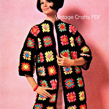 CROCHET CARDIGAN Easy Granny Square Coat 1960s Bohemian Vintage Crochet Pattern Great for Beginners Boho Jacket