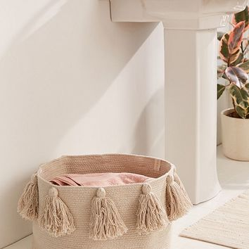 Lorena Canals Tassel Laundry Basket   Urban Outfitters