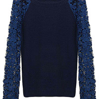 Navy Cut Out Lace Knitted Sweater