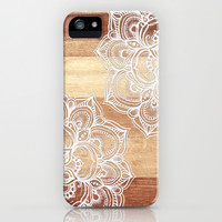 White doodles on blonde wood - neutral / nude colors iPhone & iPod Case by Micklyn