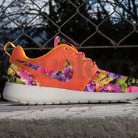 Nike Roshe Run Light Atomic Mango Floral Breeze V3 Custom Womens