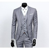 Men's Silver One Button Slim Fit Suit - Three Piece