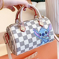 LV New fashion tartan print leather pillow shape shoulder bag crossbody bag White