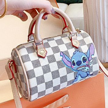 Hipgirls LV New fashion tartan print leather pillow shape shoulder bag crossbody bag White