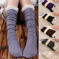 Fashion Women's Knit Lace Trim Leg Warmers Cotton Boot Stockings Knee High Socks