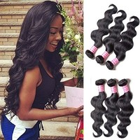 """#1 Best Seller BODY WAVE Brazilian 3 Bundle Pack GREAT DEAL with 50% OFF LACE CLOSURE Wavy Virgin Hair Weave Extensions 100 Human Hair GUARANTEED or MONEY BACK Natural Black Color -18""""20""""22"""""""