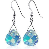 SCER192 925 Sterling Silver Clear AB Drop Handmade Earrings Made with Swarovski Crystal Elements