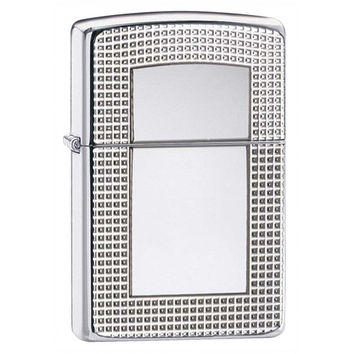 Zippo Grid Border Armor High Polish Chrome Lighter