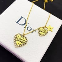 Dior Newest Stylish Women Double Heart Pendant Necklace Jewelry Accessories