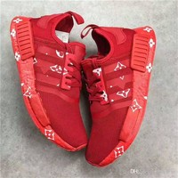2017 NMD X Running Shoes All Red Real Boost With Original Box Men Women Outdoor Shoes Article Newest Release