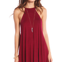 CUTAWAY NECKLINE SWING DRESS - BURGUNDY