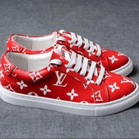 Louis Vuitton x Supreme Red Trend Fashion Casual Sneakers