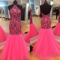Elegant 2015 Halter Sleeveless Tulle Prom Gown  Mermaid Prom Dress Party Dresses Formal Evening Gown Custom made
