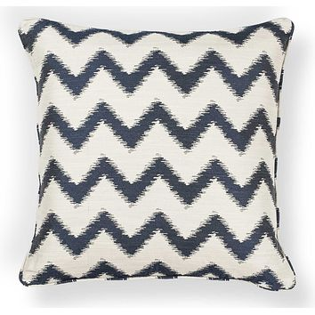 """Accent Pillows - 20"""" x 20"""" Polyester Ivory/Navy Pillow"""