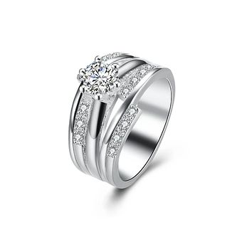 Classic Cute Silver-Plated Finger Rings Jewelry Couple Wedding Rings Not allergic Women's Favorite