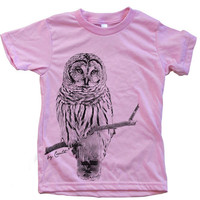 Kids OWL Tshirt  Custom Hand Screen Printed American Apparel Crew Neck Available Size 2-12 6 Color Available