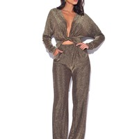 Own The Night Sparkle Metallic Jumpsuit