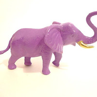 Radiant orchid elephant figurine with gold tusks purple lavender lilac violet glossy high shine shiny bookends book ends