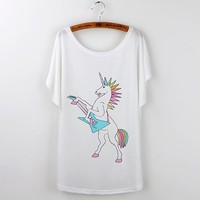 Mohawk Rock Star Unicorn Graphic T-Shirt