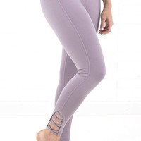 Women's Mauve Leggings with Lattice Strap Detail