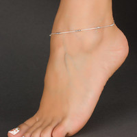 Sterling Silver Anklet • Chain Anklet • Beaded Anklet • Satellite Chain • Foot Jewelry • Beach Jewelry • Delicate Anklet | 0063AM