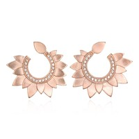 Rose Gold Petal Swirl Earrings