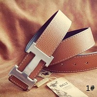 Hermes retro wild men and women classic H buckle belt