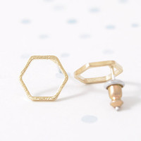 Min 1pc Gold Silver Pink Gold elegant Hexagon Stud Earrings ED043