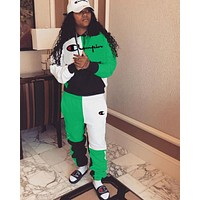 Champion Hot Sale Women Casual Embroidery Stitching Pocket Hoodie Top Pants Set Two-Piece Sportswear Green