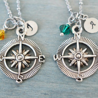 personalized best friend gift, compass necklace, travel necklace, graduation, aviation necklace, sister necklace, couples gift, bridesmaid