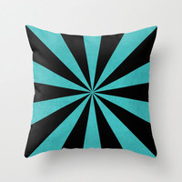 Aqua and Black Starburst Throw Pillow - Geometric Pillow - Modern Decor - Throw Pillow - Urban Decor - by Beverly LeFevre